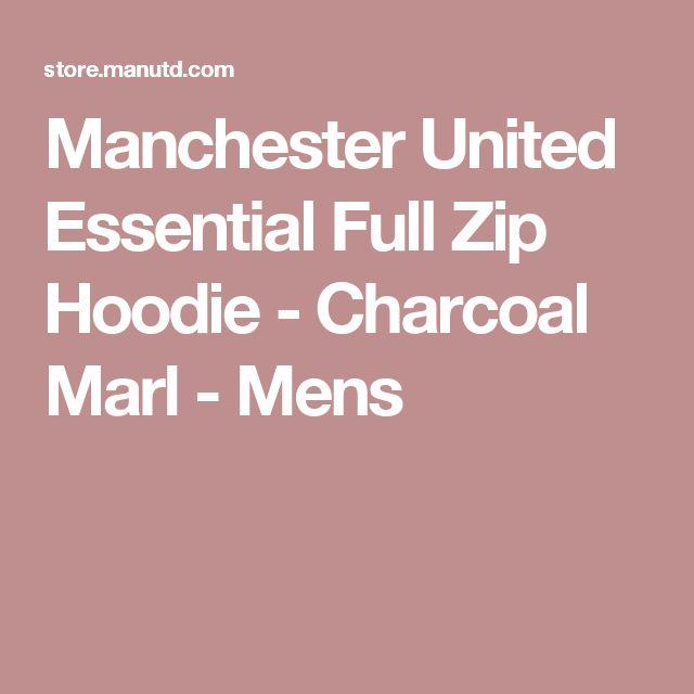 Manchester United Essential Full Zip Hoodie - Charcoal Marl - Mens Medium
