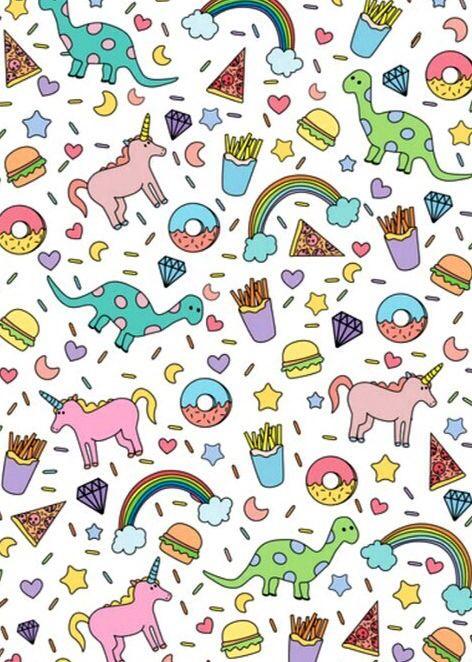 Rainbows Unicorns Dinosaurs Food Pattern Pinterest Rainbow