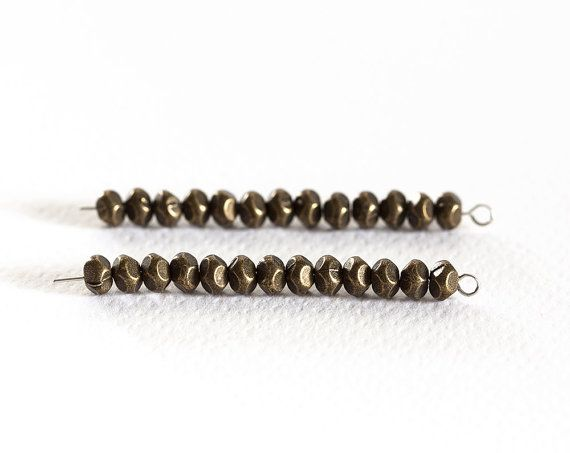 1702_Beads 5x3 mm, Antique bronze beads, Metal beads for jewelry, Faceted beads, Oval metal beads, Spacer beads, Flattened oval beads_100pcs