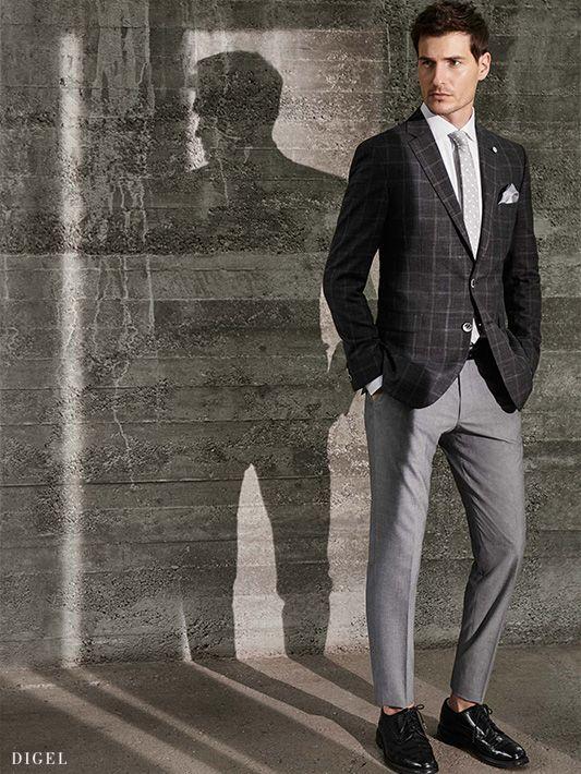 edle Grautöne: kariertes Sakko kombiniert mit unifarbener Hose #Digel #Herrenmode #Business #Karo #Grau
