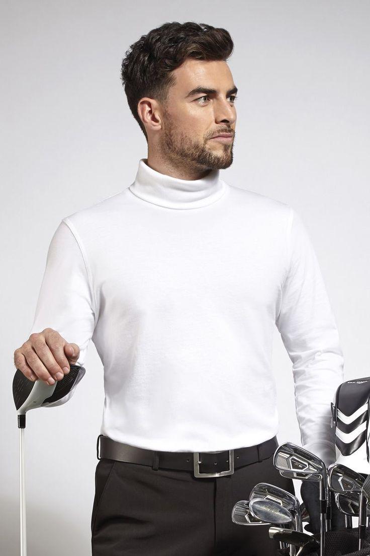 Mens Roll Neck Long Sleeve Cotton Golf Shirt