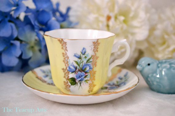 Royal Grafton Yellow and White Panel Teacup And by TheTeacupAttic