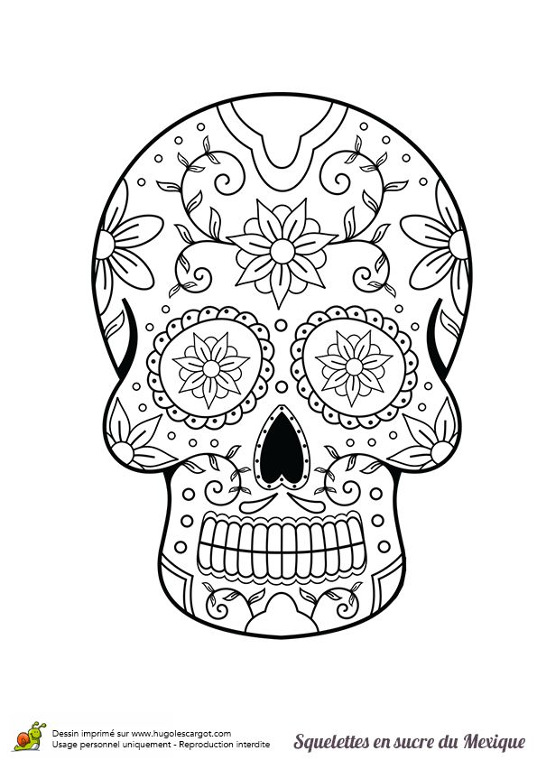 1177 best images about skulls sugar dod mexican on pinterest sugar skull tattoos sugar - Coloriage tete fleur ...
