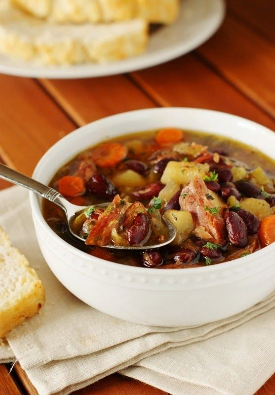 Slow Cooker Ham and Kidney Bean Soup ~ do not let that ham bone go to waste!  Grab your slow cooker, and whip up a pot of this delicious soup.   www.thekitchenismyplayground.com
