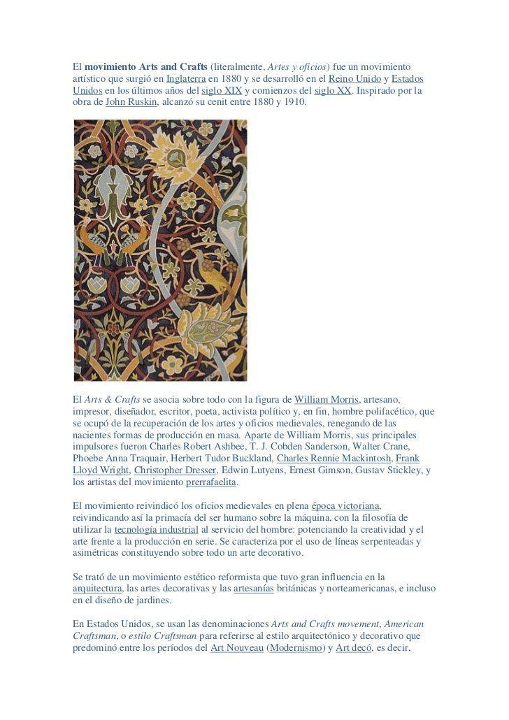 El Movimiento Arts And Crafts Literalmente Artes Y Oficios Fue Un Movimiento Arts And Crafts Interiors Art And Craft Videos Summer Arts And Crafts