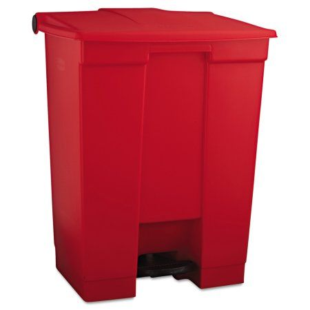 Rubbermaid Commercial Indoor Utility Step-On Waste Container, Rectangular, Plastic, 18gal, Red
