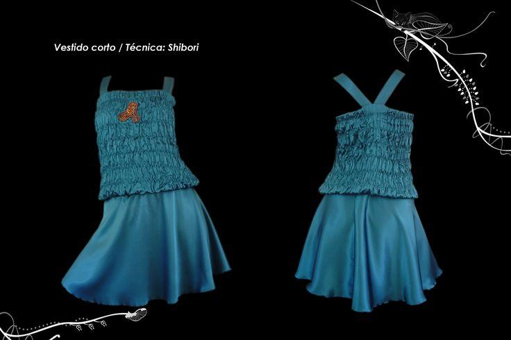 Vestido top textura shibori plegado + aplicación cobre y mostacillas.