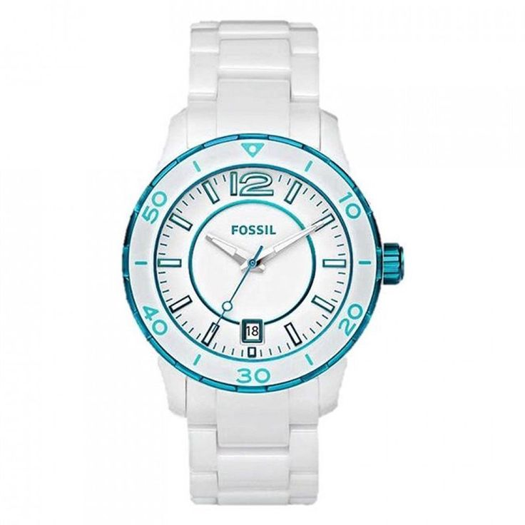 Fossil Ladies Watch CE1049 Ceramic Case Silicone BLUE #Fossil #LuxuryDressStyles