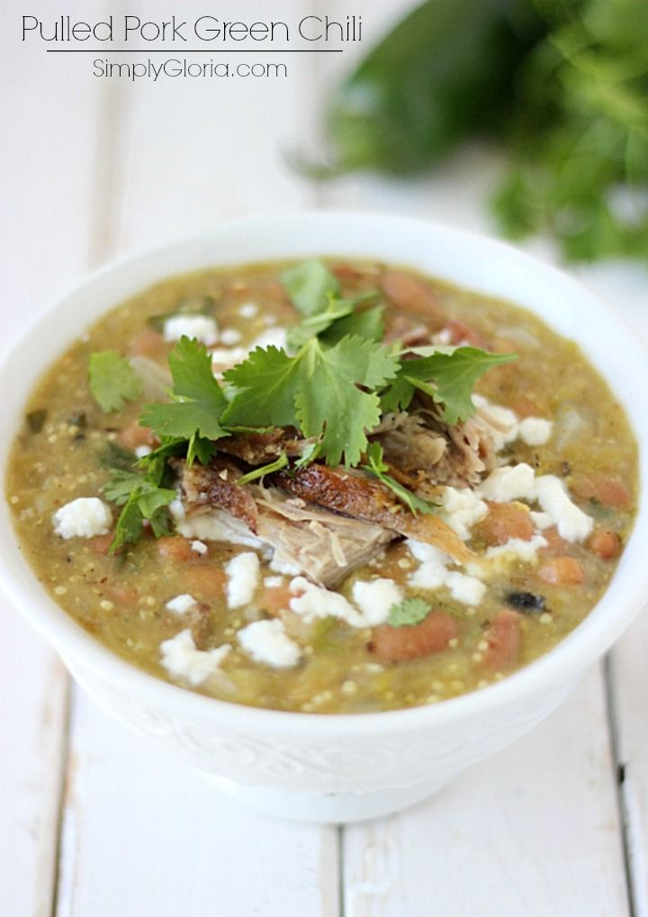 Pulled Pork Green Chili has fresh roasted chiles and tomatillos, stewed with tender pulled pork. All the southwestern-style taste and so much more! It's been getting quite nippy out lately. &...