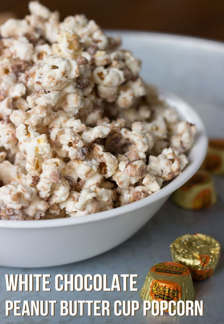 White Chocolate Peanut Butter Cup Popcorn | Over the Big Moon