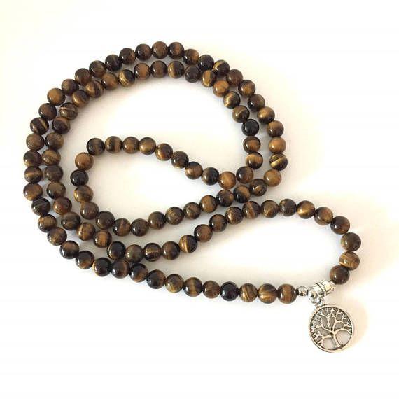 Tiger Eye 108 Mala Wrap Bracelet or Necklace silver tree of