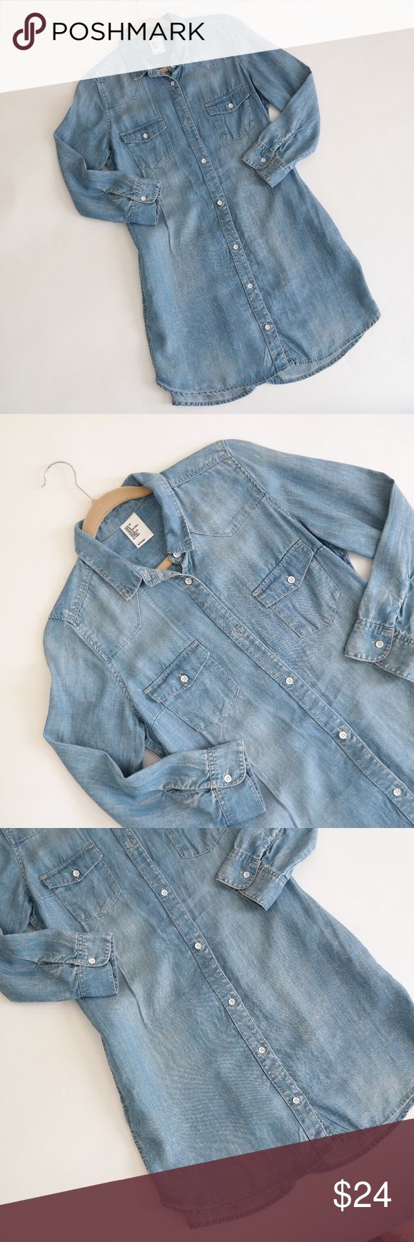 ZARA Chambray Denim Shirt Dress A relaxed, comfortable chambray denim shirt dress from Zara. Worn only once. Looks great belted or alone and can even be worn over another dress. Lightweight fabric. Zara Dresses Long Sleeve