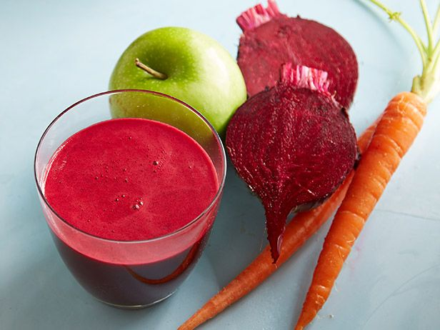 Beet-Carrot-Apple Juice: This ruby red juice is a good source of both vitamins C and K. It also contains Beta-carotene, which is converted to vitamin A in the body-good for skin and night vision.Food Network, S'More Bar, Ruby Red, Beets Carrots Apples Juice, Beets Juice Recipe, Juice Bar, Vitamins A, Vitamins C, Healthy Juice