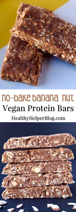 No-Bake Banana Nut Vegan Protein Bars • Healthy Helper