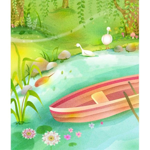 hand-drawn landscape naïve decor custom wallpaper at the pond – WYBO Workshop