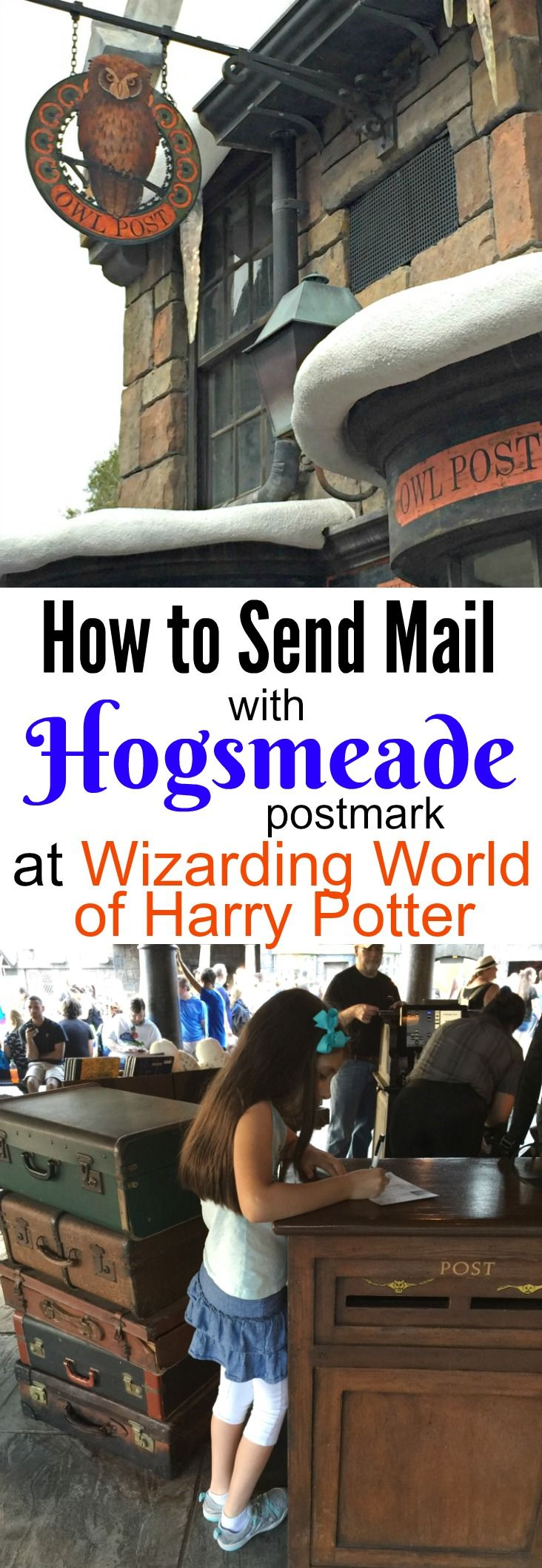 How to send mail with Hogsmeade postmark at The Wizarding World of Harry Potter at Universal Orlando! #ad #HarryPotter #familytravel