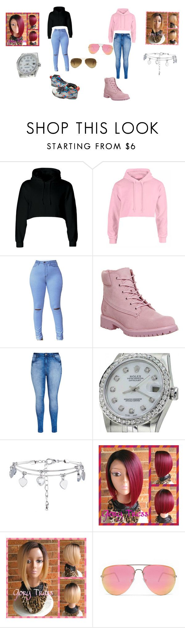 """""""Cropped hoodies"""" by arie-boi on Polyvore featuring Timberland, City Chic, Rolex, New Look, Quay and Ray-Ban"""