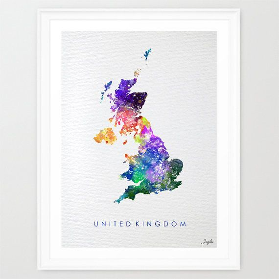 United Kingdom Map UK Mapworld MapWatercolor Art by KidsAndHomes