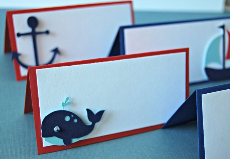 """Set of 6 These little cards are perfect for labeling almost anything: place settings, food names, etc. Cards are 2"""" x 4"""" when folded. Shapes will vary and include: red anchors, blue anchors, sailboats"""