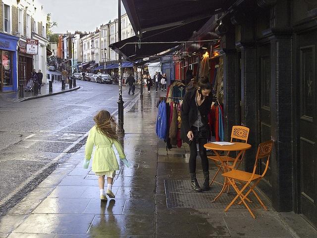 Portobello Road in the rain - London