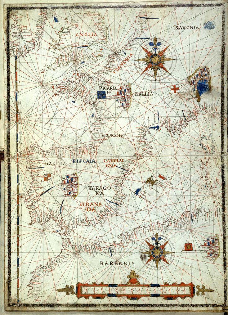 Carta náutica de las costas del mar Mediterráneo, 1592 Voltuis, Vicentius Demetrius.  [Carta de las costas del mar Mediterráneo] [Material cartográfico] / Vincus. Demetrius Voltius Raguseus fecit Neapoli die 28 februari 1592.
