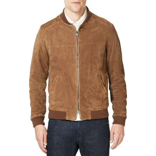 Etro Suede Bomber Jacket (91.380 RUB) ❤ liked on Polyvore featuring men's fashion, men's clothing, men's outerwear, men's jackets, mens flight jacket, mens suede leather jacket, mens brown leather bomber jacket, men's stand up collar jacket and mens suede jacket