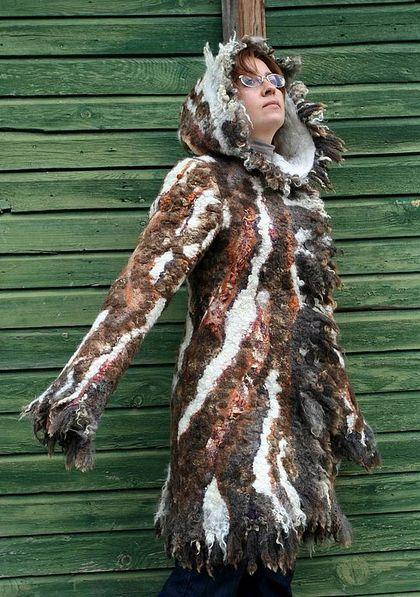 Верхняя одежда ручной работы. Ярмарка Мастеров - ручная работа. Купить Пальто Терра Инкогнита. Handmade. Валяное пальто, коричневый