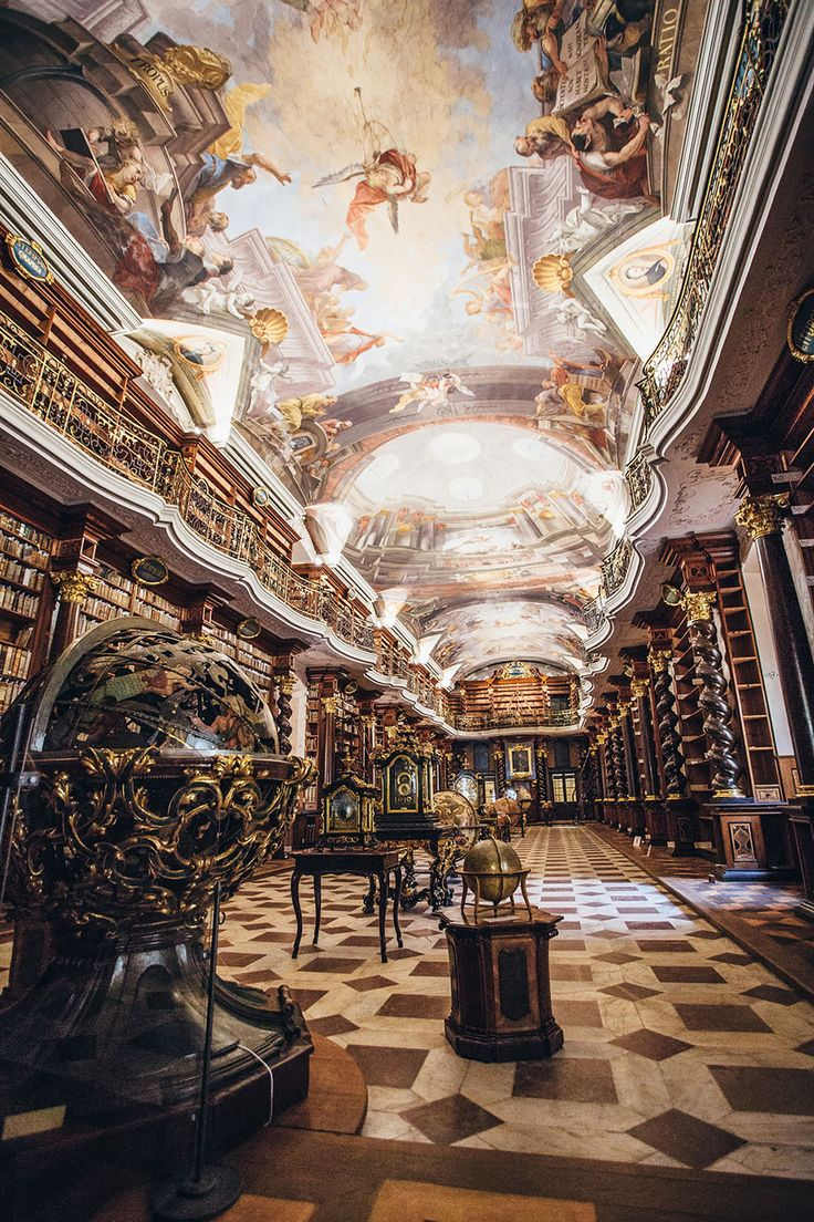 The Klementinum library, a beautiful example of Baroque architecture, was first opened in 1722 as part of the Jesuit university, and houses over 20,000 books.