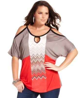 Seven7 Plus Size Top, Short-Sleeve Cutout Printed - Plus Size Tops - Plus Sizes - Macy's  I really like this shirt...but what kind of bra do you wear with it? Is this shirt possible for a Dcup woman?