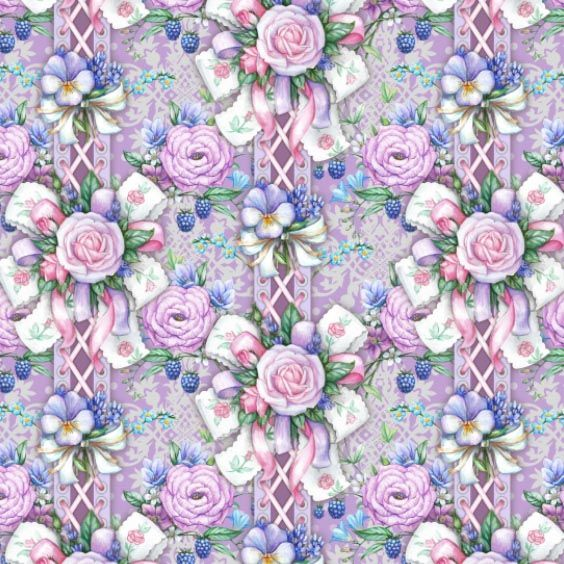 Tender seamless composition with flowers & ribbons by Maria Rytova #pattern #textile #background #backing #paper #work #纹样 #арт #картинки #picture #decoupage #декупаж #узоры #wallpaper #design #卷草 #flower #图案 #фон #print #принт #printable #papel #ornament #seamless #surface #rose #floral #decorative #decor #vintage