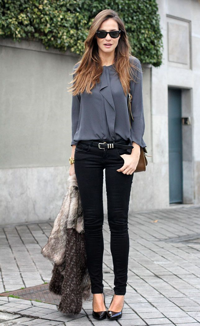 #work #fashion grey blouse black skinny jeans combo