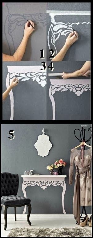 """Painted """"table"""" shelf for a small space"""