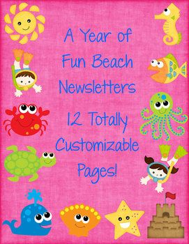 Any sun lovers out there have an ocean or beach themed classroom? These 12 fun newsletter templates are for you! $