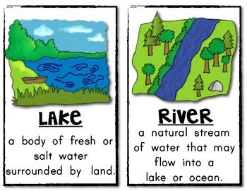 Mini Poster Pack with Definitions: LANDFORMS (Set of 16) Kindergarten and First Grade Social Studies. $