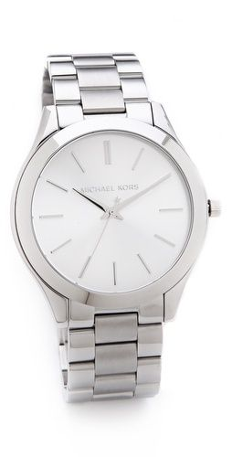 Michael Kors silver slim runway watch. (looks like a rolex:)