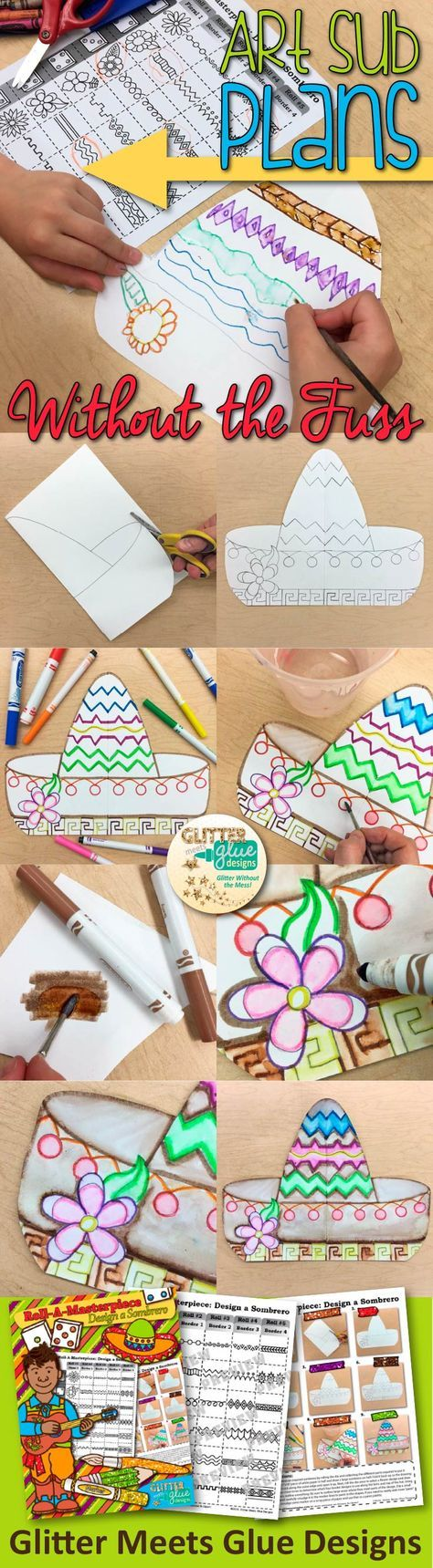 Design a Sombrero   Cinco de Mayo Crafts for Kids   Tthis Cinco de Mayo art project is perfect for studying Mexican culture and easy to leave with a substitute teacher. Students create it using a fun game!