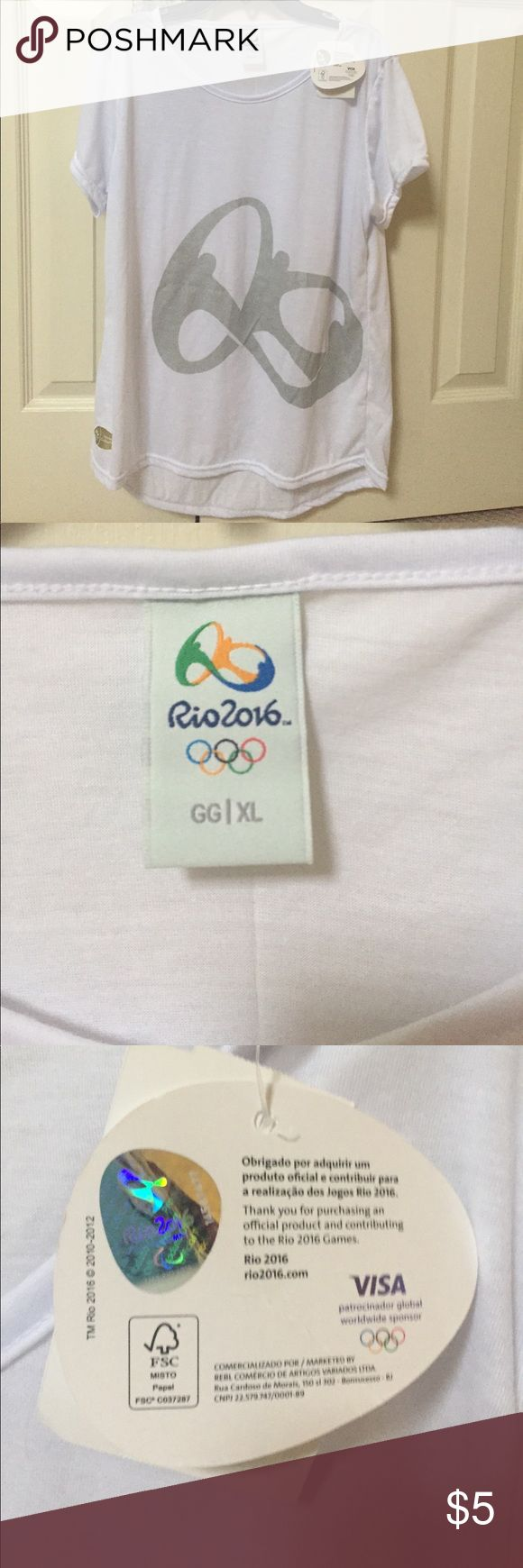 Rio 2016 Olympic Athletic Tee White cotton fabric with a shimmer silver design on front. Tops Tees - Short Sleeve