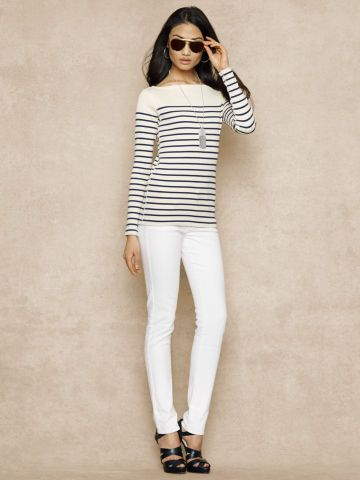 Striped Boatneck Top - Blue Label T-Shirts - Ralph Lauren UK