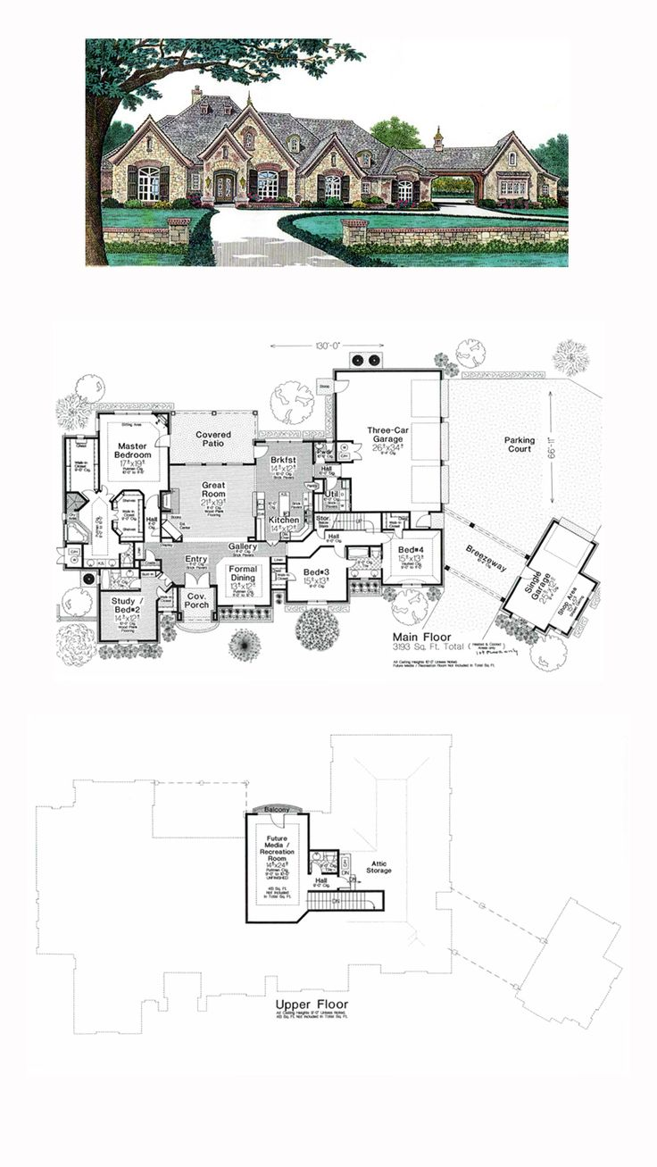 French Country House Plan 66248 | Total Living Area: 3193 sq. ft., 4 bedrooms, 3 full bathrooms and 2 half baths. #frenchcountryhome