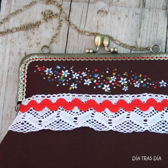 Bolso boquilla marrón flores, Bolsos y carteras, Bolsos, Fechas señaladas, Cumpleaños, Fechas señaladas, Día de la madre