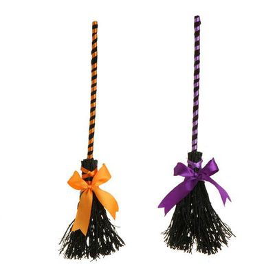 raz glittered witch broom halloween decoration orange purple priced individually choose color made of twig measures raz exclusive raz halloween - Raz Halloween Decorations