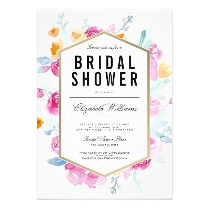 Watercolor Flowers Floral Bridal Shower Invite - bridal shower gifts ideas wedding bride