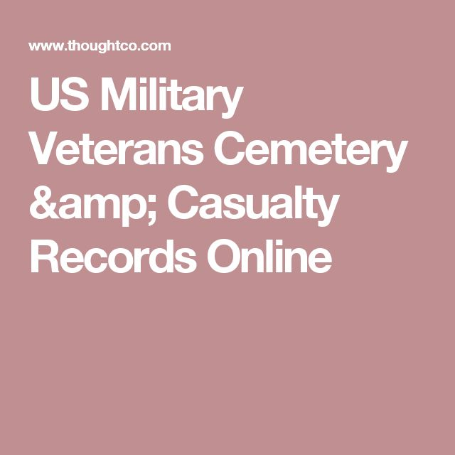 US Military Veterans Cemetery & Casualty Records Online