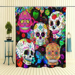 Day Of The Dead Skull Shower Curtain