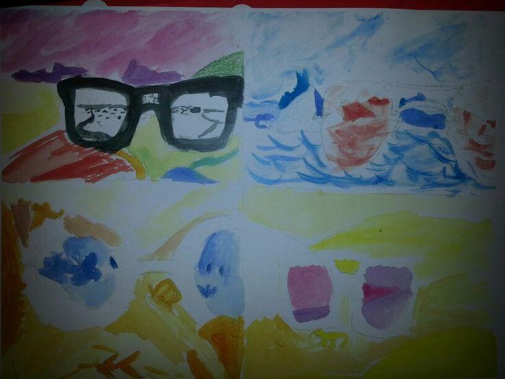 Schets bril lanschap/stad