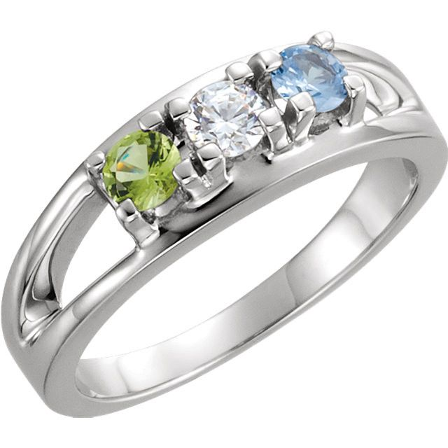 3 Stone Custom Birthstone Ring in Sterling Silver or White Gold