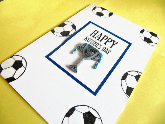 Football Card Fathers Day Card Card For Dad Greeting Card Quilled Card Trophy Card Handmade Card Happy F Quilling Cards Happy Fathers Day Cards Handmade