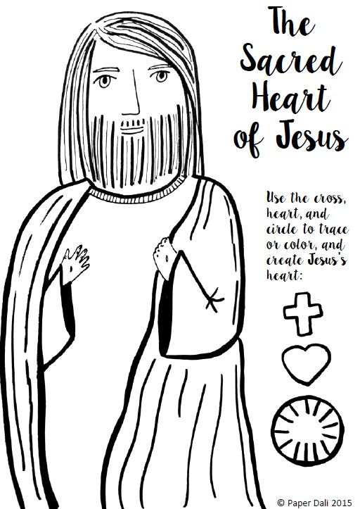 Paper Dali: Free Sacred Heart of Jesus Coloring Page and Craft [Printable]