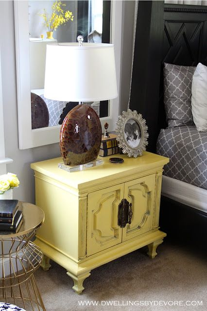 6th street design school blog. By Devore. Painted yellow nightstand. This is the kind of furniture I'd probably just walk past at a thrift store or garage sale but this is my cute