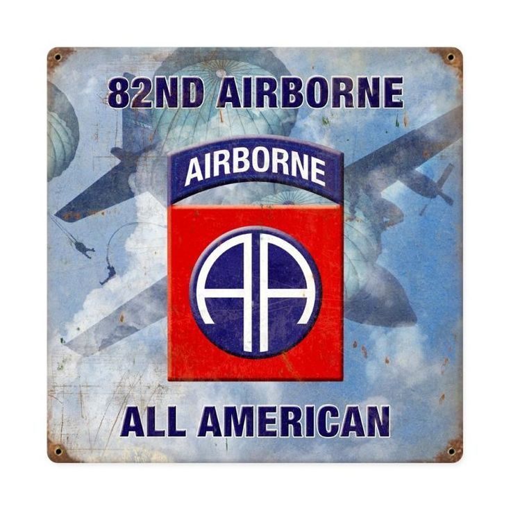 From the Altogether American licensed collection, this 82nd Airborne Division All American vintage metal sign measures 12 inches by 12 inches and weighs in at 1 lb(s). This vintage metal sign is hand